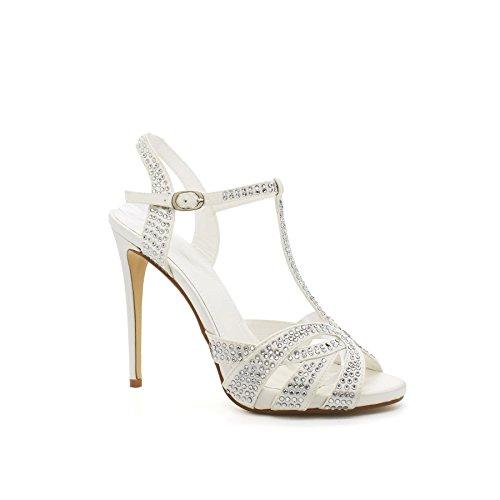 de Blanc Londres Chaussures Talons Sandales Diamante Alessandra Femmes wq6qRgz