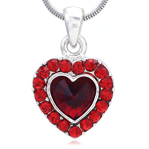 Valentines Day and Mothers Day Gift Heart Pendant Necklace Charm (Red)