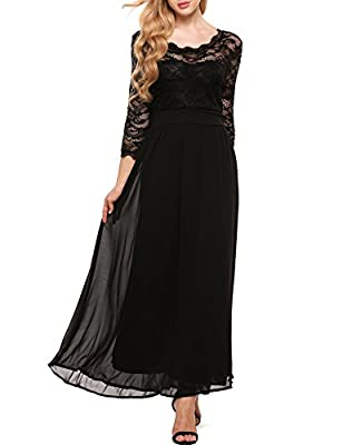 Justrix Womens Floral Lace 2/3 Sleeves Long Formal Evening Maxi Dress