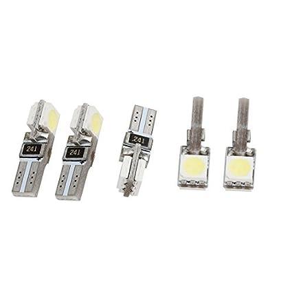 Amazon.com: eDealMax Vehículo Blanco 2 5050 SMD LED de luz de tablero de instrumentos de la rociada del bulbo T5 5 piezas: Automotive