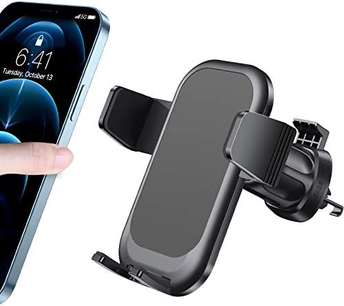 [2021 Upgraded] Diaclara Phone Holder for Car, Car Vent Phone Mount with Metal Clip, Press Design for Easy Clamp/Release, Ultra Stable Car Phone Holder Compatible with All iPhone/Android Cellphone