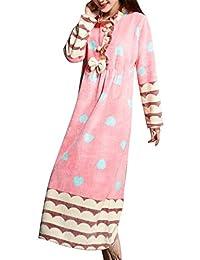 Domple Women's Pajamas Long Nightgown Fleece Sleepwear Dress