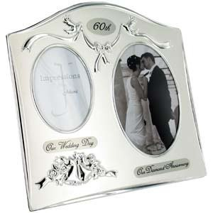 Two Tone Silverplated Wedding Anniversary Gift Photo Frame -