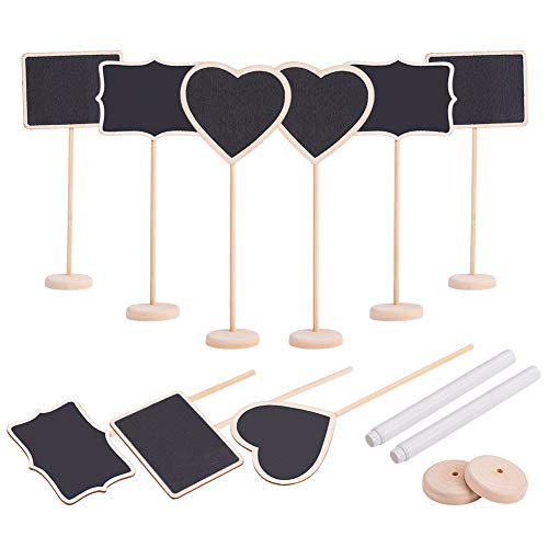 PandaHall Elite 9 Sets Wood Mini Chalkboard Signs 3 Styles with Stand Erasable Black Message Board with 2 Pcs Chalk Markers for Wedding Party Table Numbers, Place Cards, Decorative Sign from PH PandaHall