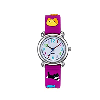 Vanyar Kids Cat Time Teacher Quartz Wrist Watch Rubble Band