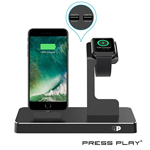 ONE Dock (APPLE CERTIFIED) Power Station Dock, Stand & Built-In Lightning Charger for Apple Watch Smart Watch (Series 1,2,3, Nike+), iPhone X/10/8/8 Plus/7/7Plus/6s/6s, iPad & iPod (Aluminum) – Black by Press Play