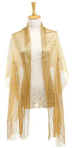 Gold Womens Jacket (1920s Gatsby Weddings Evening Scarfs,Sheer Glitter Sparkle Piano Shawl Wrap (Metallic Gold))