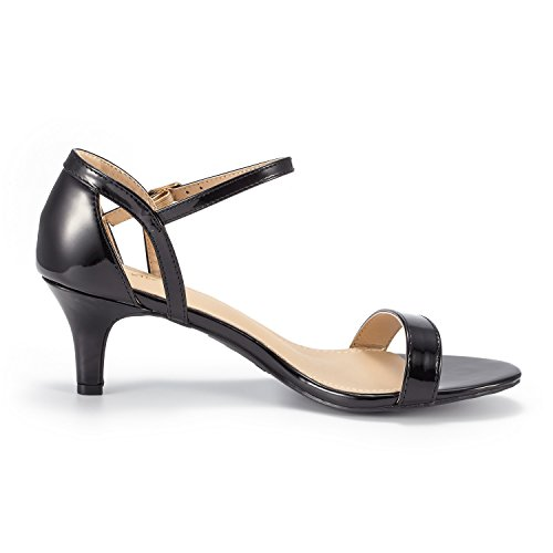 DREAM PAIRS Womens Lexii Fashion Stilettos Open Toe Pump Heeled Sandals Black Pat 8jb81