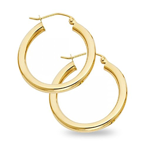 Gold Polished Lock (Solid Hoop Earrings Round 14k Yellow Gold Classic Polished Design French Lock Genuine 24 x 3 mm)
