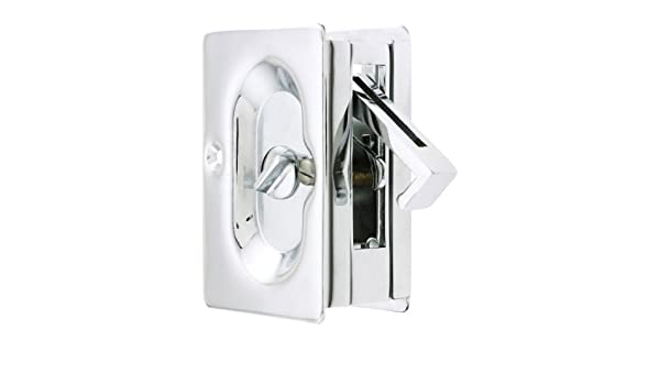 Emtek Pocket Door Privacy Lock Set, Polished Chrome By Emtek