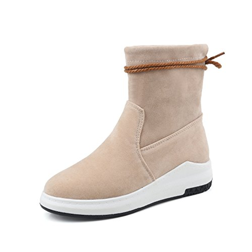 BalaMasa Womens Flatform Closed-Toe Solid Round-Toe Suede Boots ABL09606 Apricot LlAUR