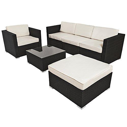 TecTake-Hochwertige-Luxus-Lounge-Poly-Rattan-Sitzgruppe-Sofa-Rattanmbel-Gartenmbel-schwarz