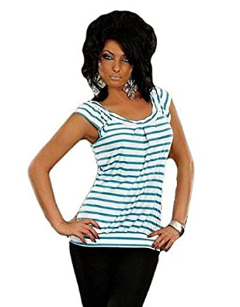 Look Shirt Weiss Blau Ballon Top T Marine Gestreift Kurzarm rshtdCxQ