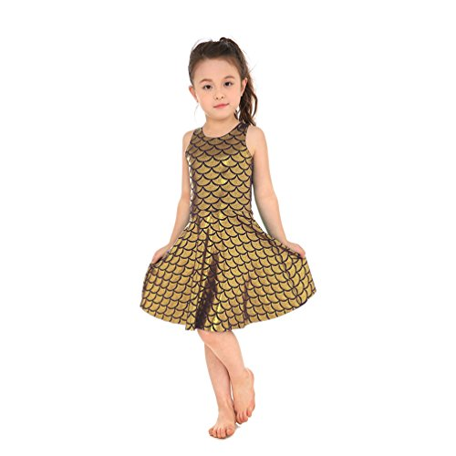 Lesubuy Gold Shiny Cute Party Mermaid Tail Fish Scales Girl's Pleated Skater Skating Dress Small