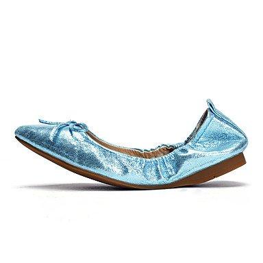 Cómodo y elegante soporte de zapatos de las mujeres pisos boda de piel sintética suela de luz de primavera verano otoño al aire libre oficina y carrera vestido de fiesta y noche Athletic Casual soport azul