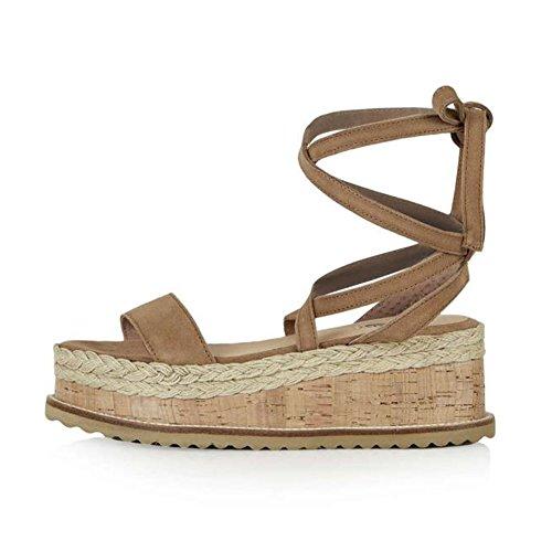 fereshte Womens Cross Ankle Strap Roman Gladiators Peep-Toe Straw Braid Platform Wedge Heel Sandals Camel PMC2v