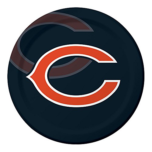 Creative Converting Officially Licensed NFL Dinner Paper Plates, 96-Count, Chicago Bears