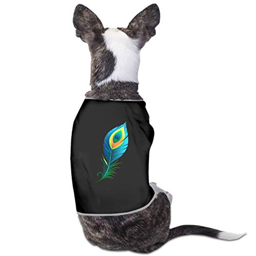 XUGGL Dog Costume Shirt Peacock Feather Isolated Format Tank Top Soft Cotton Dog Spring Clothes