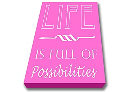 Quotes Life Is Full Of Possibilities Vivid Pink Canvas Art Prints