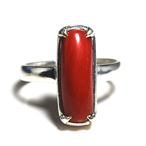 Gemsonclick Natural Red Coral Prong Silver Ring 4 Carat Astrological Gemstone Size 5,6,7,8,9,10,11,12,13