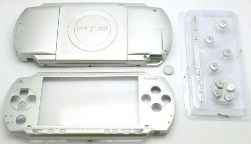 Gametown NEW Replacement Sony PSP 1000 Full Housing Shell Cover With Button Set -Silver.