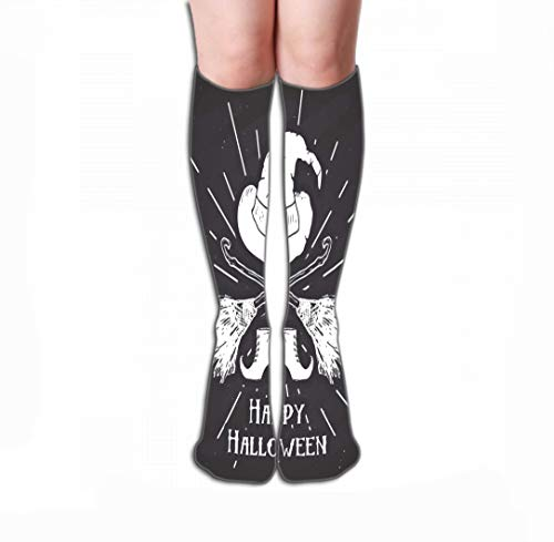 YILINGER Halloween Greeting Card Vintage Label Hand Drawn Sketch Witch Items gr Sport High Stockings Athletic Compression Long Socks for Men's Women and Girls 19.7
