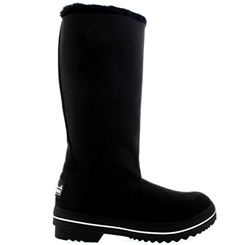 Rain Waterproof Winter Snow Sole Womens Rubber Black Tall Suede Original Boots xaxB4U7