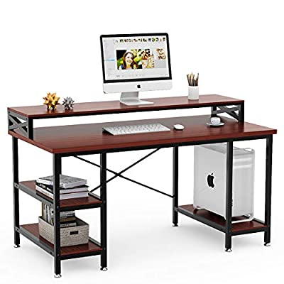 """Tribesigns Computer Desk with Storage Shelves, 55"""" Large Modern Office Desk Computer Table Studying Writing Desk Workstation with Printer Monitor Shelf for Home Office"""