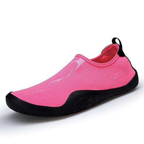 ZOEASHLEY Damen Herren Aquaschuhe Badeschuhe Strandschuhe Schwimmschuhe mit Rutschfeste Sohle Geeignet Für Wassersport Fitnessstudio Yoga Pink
