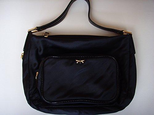 talbots-black-cloth-fabric-purse-9-x-13-medium-with-many-pockets