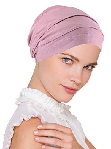 Lux Ultra Soft Bamboo Pleated Beanie Cap, Chemo Hats for Cancer French Rose Pink (Scarves For Chemo Patients)