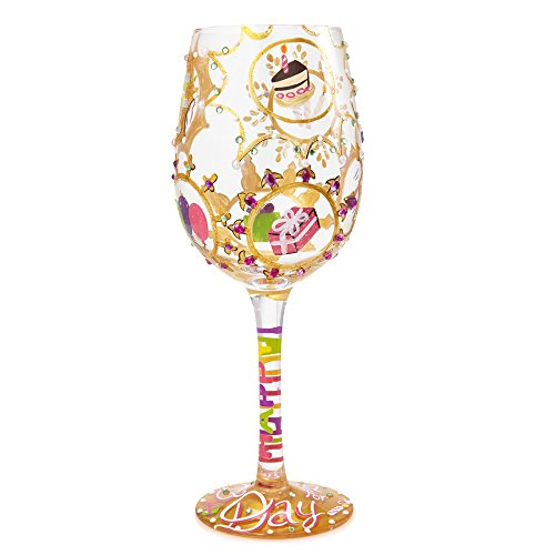 "Designs by Lolita ""Queen For a Day"" Hand-painted Artisan Wine Glass, 15 oz. (Grandma Lolita Wine Glass)"