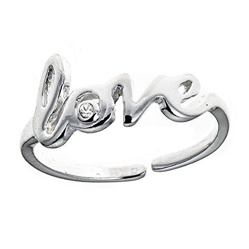 Ritastephens Sterling Silver Love Cubic Zirconia Adjustable Toe Ring Body (Bezel Toe Ring)