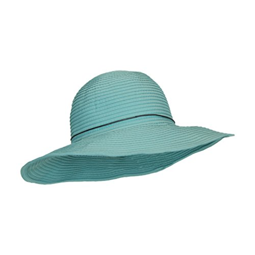 (Aqua Light Turquoise Teal Ribbon Crusher Sun Hat, 4 in. Shapeable Brim, SPF UPF 50 UV, One Size)