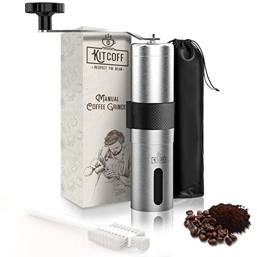 Kitcoff Manual Coffee Grinder – Hand Beans Mill with 18-Click Settings, Stainless Steel Body with Ceramic Burr…