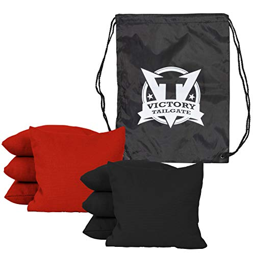 Victory Tailgate 8 Colored Corn Filled Regulation Cornhole Bags with Drawstring Pack (4 Red, 4 Black) by Victory Tailgate (Image #1)