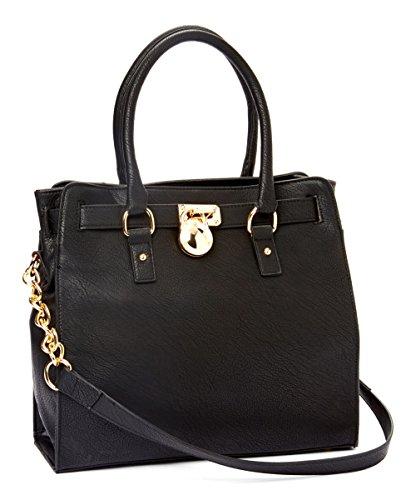MKF Collection Plora Pad-lock Designer Handbag (Large Black)