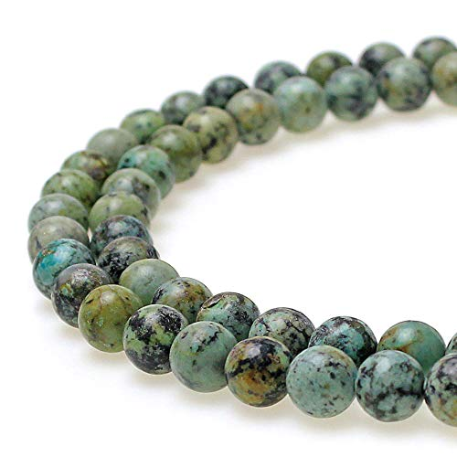 "JarTc Natural African Turquoise Beads Round Loose Stone Beads for Jewelry Making DIY Bracelet Necklace Accessory 15"" (6mm)"