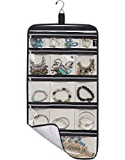 MISSLO Hanging Jewelry Travel Organizer 14 Cotton Zippered Pockets Foldable Roll UP Traveling Jewelry Storage Case …