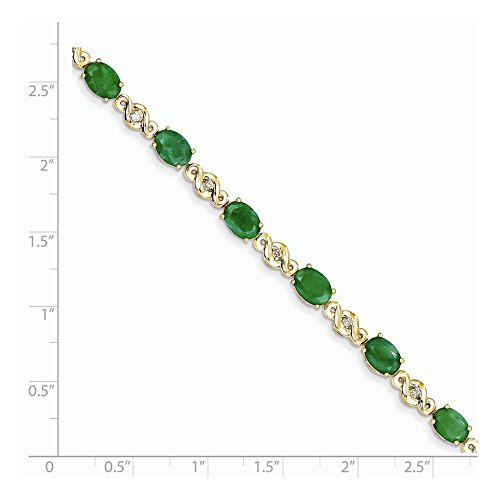 ICE CARATS 14k Yellow Gold Diamond Green Emerald Bracelet 7 Inch Gemstone Fine Jewelry Gift Set For Women Heart by ICE CARATS (Image #5)