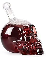 Skull Liquor Decanter, Clear Glass Skull Shaped Whiskey Decanter With Stopper Set 350ml Capacity Skull Decanters In Bottler For Alcohol Whiskey Wine For Men