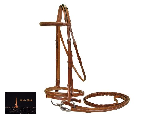 Paris Tack Square Raised Crown Padded FS Bridle with Flash & Laced Reins, Chestnut, Full Size