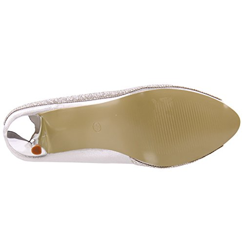 Unze Zapatos de tacón de novia adornado Mujeres Martina ' Plateado