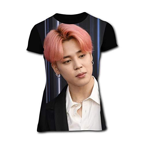 Women's T-Shirts BTS-Jimin Living Coral Hair Short Sleeve Girl's Shirts Casual Workout Training Tee Black]()