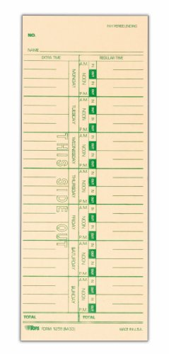 TOPS Time Cards, Weekly, 1-Sided, Replaces M-33, 10-800292, 3-1/2