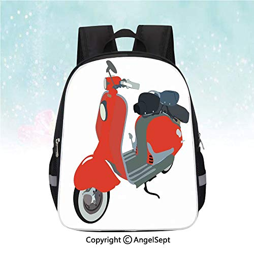 Clipart Kite - Kids School Backpack,Motor Scooter Doodle in Nice Sixties Style Driving Motorcycle Urban Cartoon Clipart Decorative,13