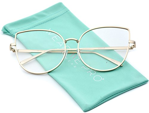 WearMe Pro - Clear Thin Frame Oversized Delicate Non- Prescription - Glasses Cute Prescription Non