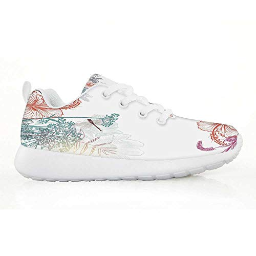 Dragonfly Comfortable Running Shoes,Wildflowers Hibiscus Blooms Herbs Fern Artistic Antique Botanical Elegance Design Decorative for Kids Boys,EU30