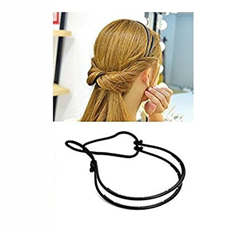 2PCS Women Lady Girl Fashion Black Double Elastic Hair Hoop Headband Hair Band Modelling -