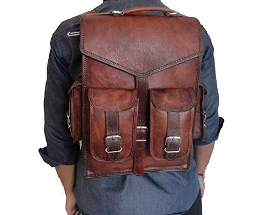 Handmade_World Brown Vintage Leather Backpack Laptop Messenger Bag Rucksack Sling for Men Women (11